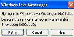 MSN Messenger 8.0 Error Code - 800ccc0e