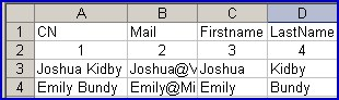 Sample Excel spreadsheet with data for VBScript contacts
