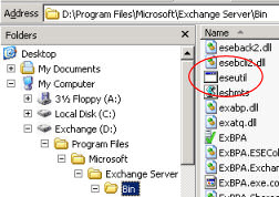 Eseutil path exchsrvr\bin  Exchange 2007