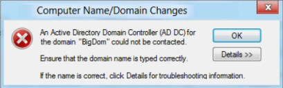 Windows 8 Troubleshooting Join Domain