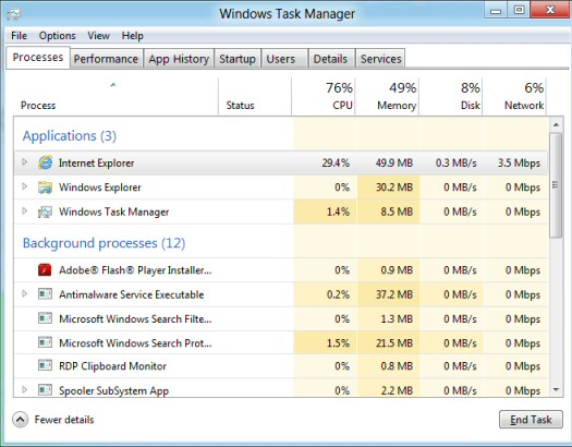 Windows 8 Task Manager Screenshot